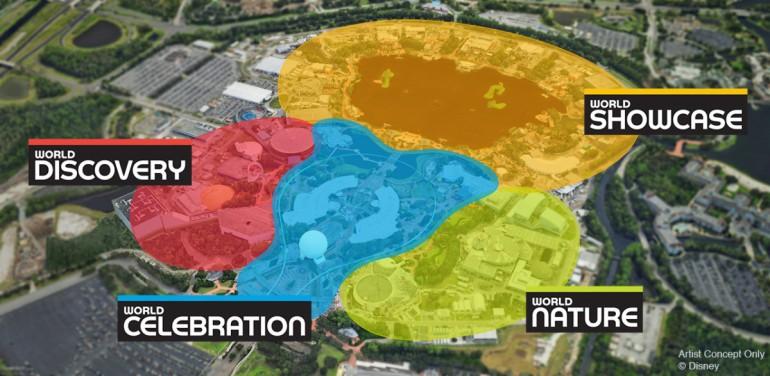 Organização das novas áreas temáticas no Epcot.