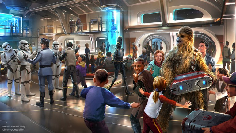 Arte conceitual do hotel Star Wars Galactic Starcruiser.