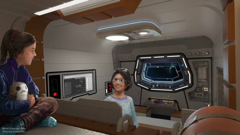 Arte conceitual do hotel Star Wars Galactic Starcruiser